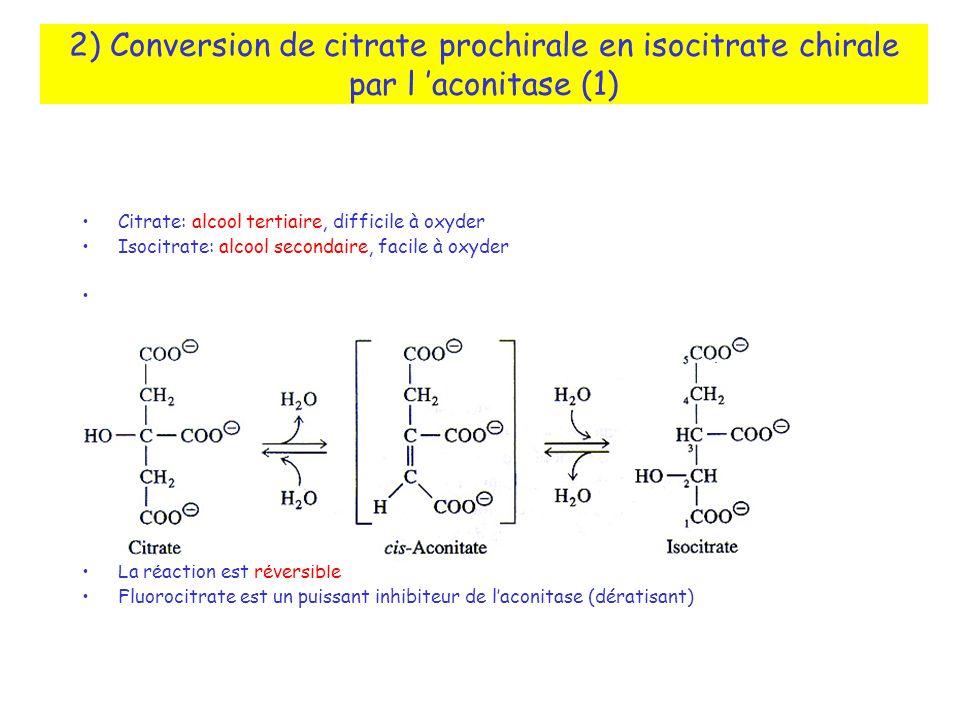 2) Conversion de citrate prochirale en isocitrate chirale par l 'aconitase (1)