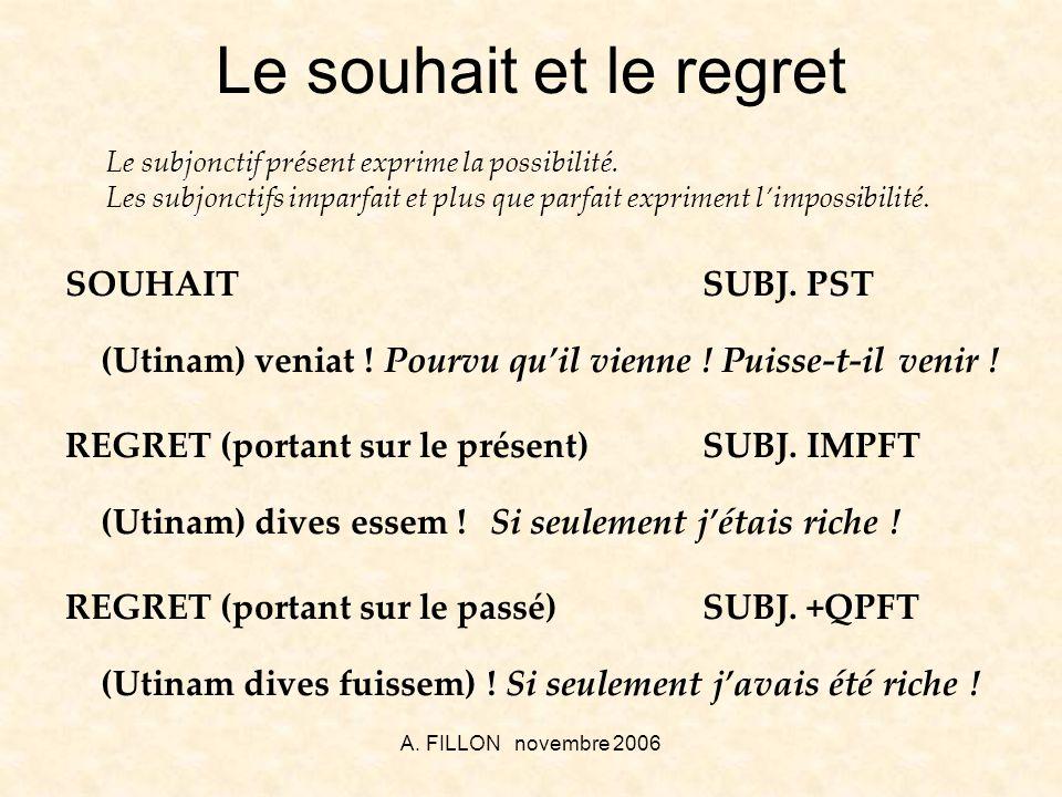 Le souhait et le regret SOUHAIT SUBJ. PST