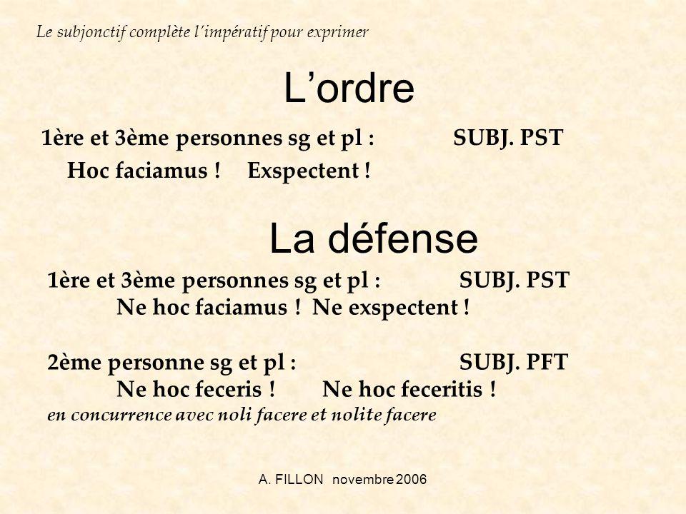 L'ordre La défense 1ère et 3ème personnes sg et pl : SUBJ. PST
