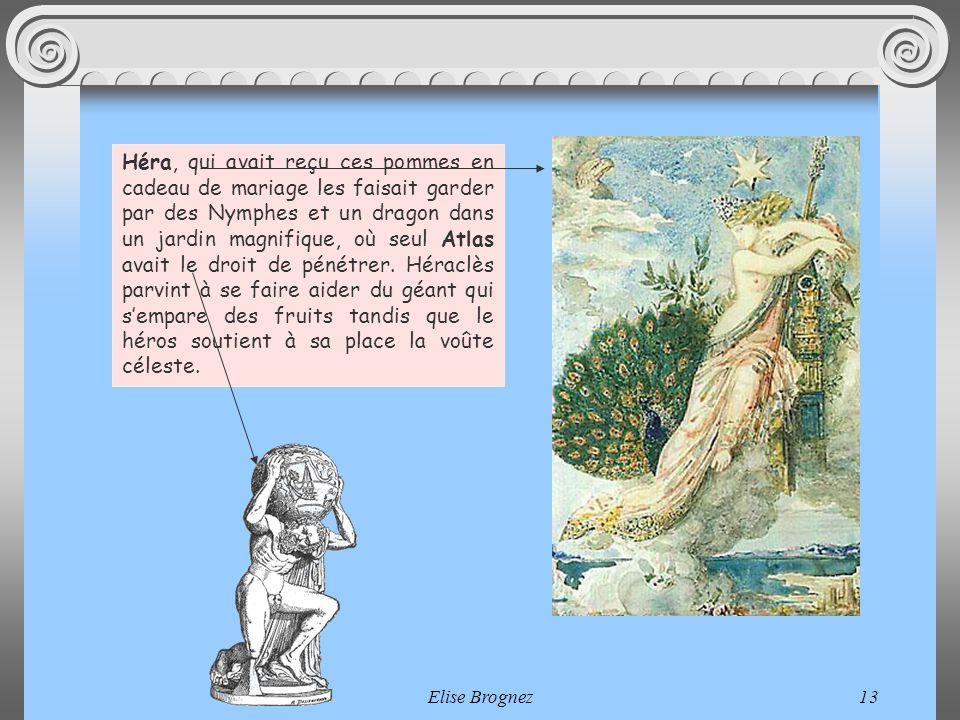 Héra, qui avait reçu ces pommes en cadeau de mariage les faisait garder par des Nymphes et un dragon dans un jardin magnifique, où seul Atlas avait le droit de pénétrer. Héraclès parvint à se faire aider du géant qui s'empare des fruits tandis que le héros soutient à sa place la voûte céleste.