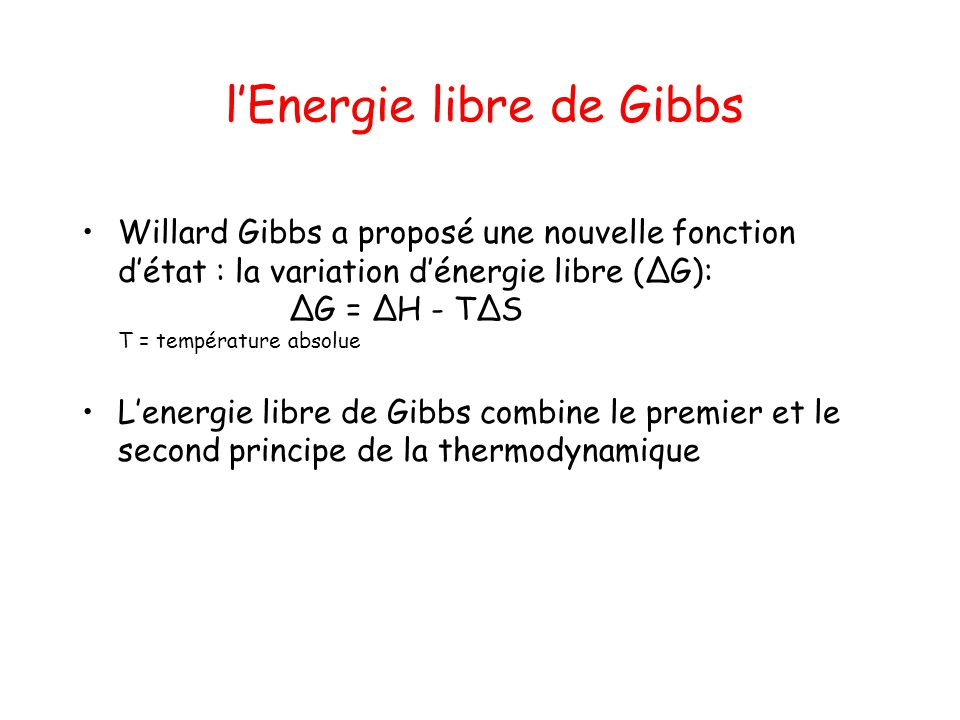 l'Energie libre de Gibbs