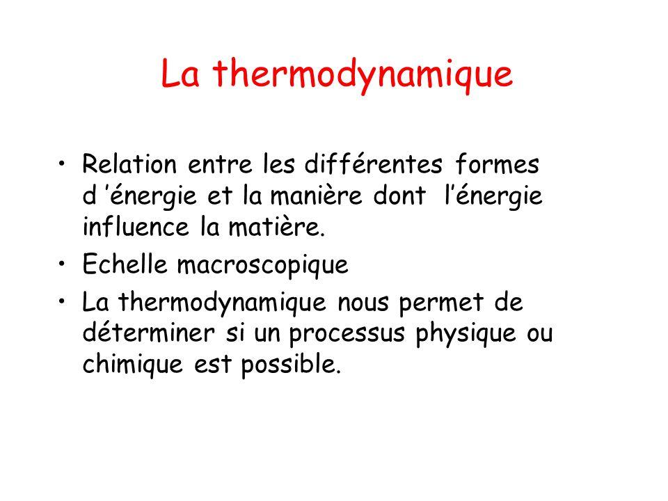 La thermodynamique Relation entre les différentes formes d 'énergie et la manière dont l'énergie influence la matière.