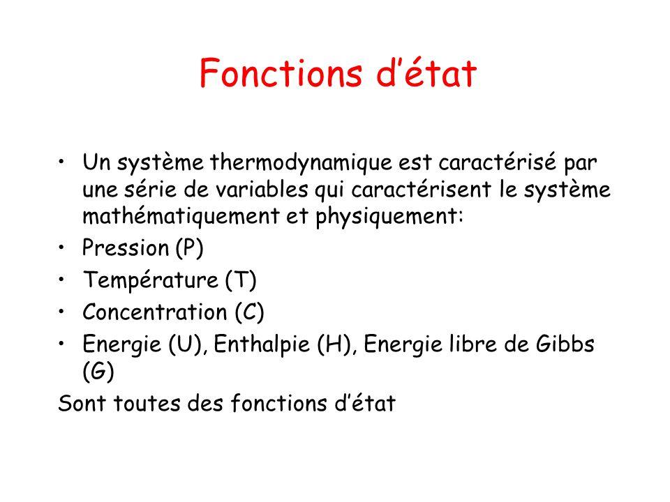 Fonctions d'état Un système thermodynamique est caractérisé par une série de variables qui caractérisent le système mathématiquement et physiquement:
