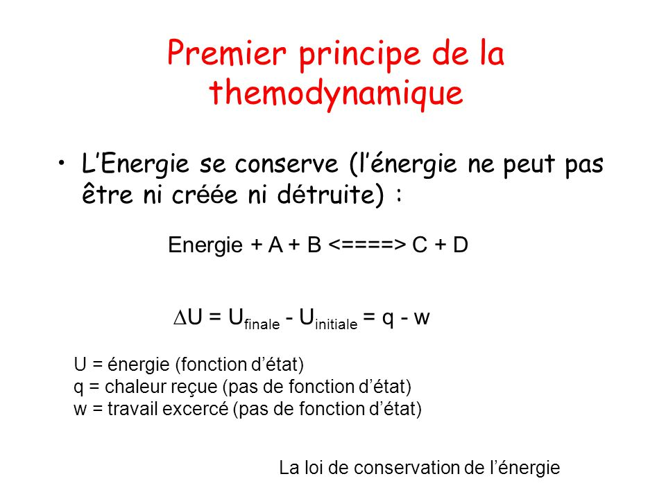 Premier principe de la themodynamique