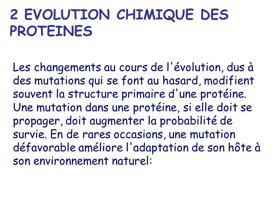 2 EVOLUTION CHIMIQUE DES PROTEINES