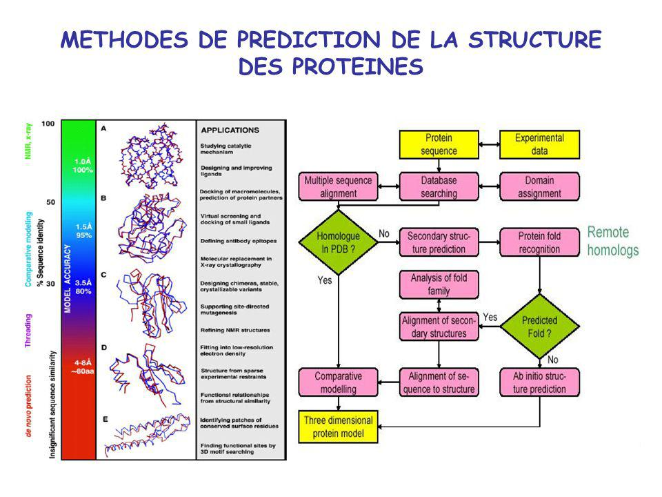 METHODES DE PREDICTION DE LA STRUCTURE DES PROTEINES