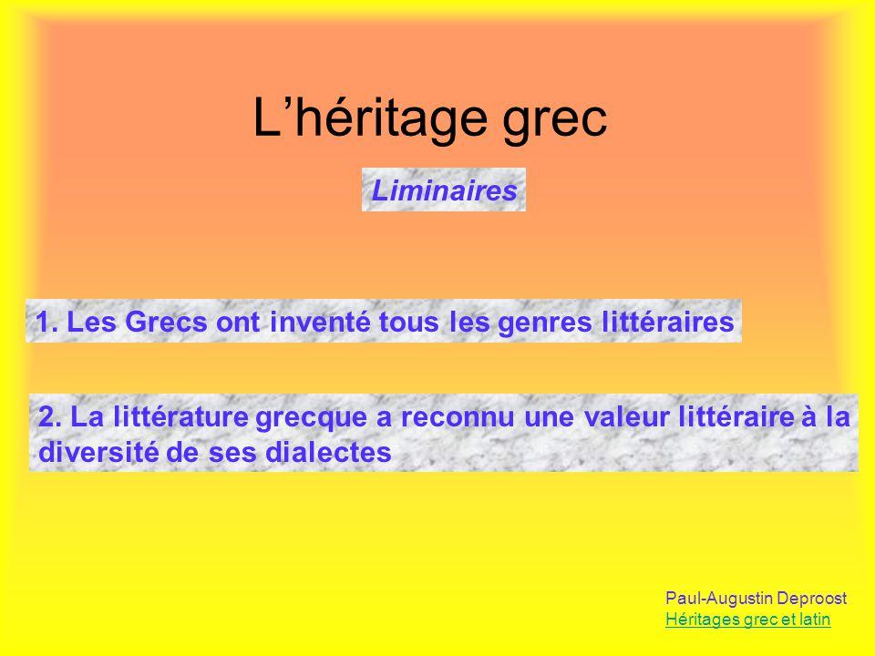 L'héritage grec Liminaires