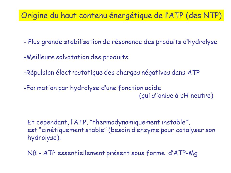 Origine du haut contenu énergétique de l'ATP (des NTP)
