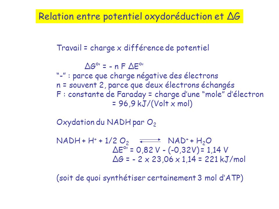 Relation entre potentiel oxydoréduction et ∆G