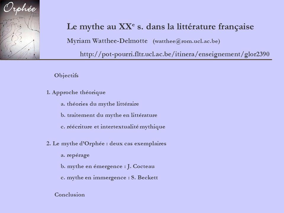 Le mythe au XXe s. dans la littérature française