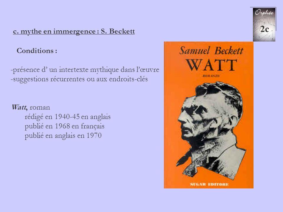 c. mythe en immergence : S. Beckett