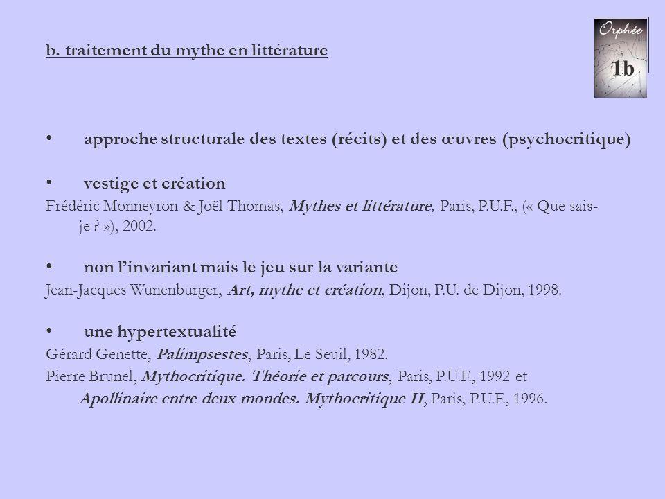 1b b. traitement du mythe en littérature