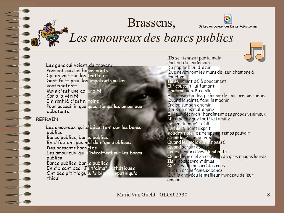 Catulle et la po sie amoureuse ppt t l charger - Les amoureux des bancs publics brassens ...