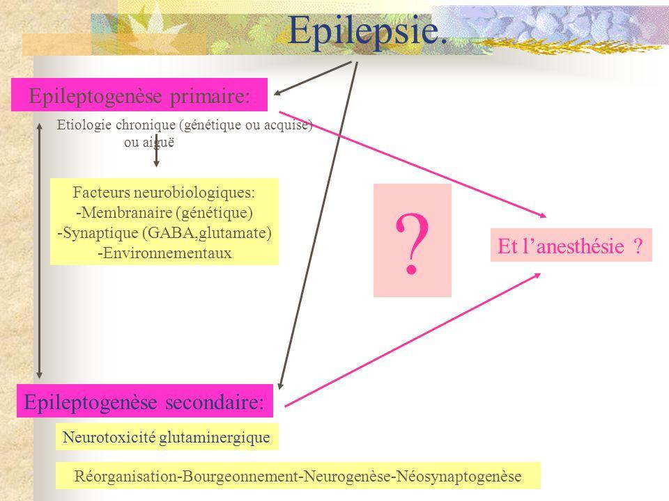 Epilepsie. Epileptogenèse primaire: Et l'anesthésie