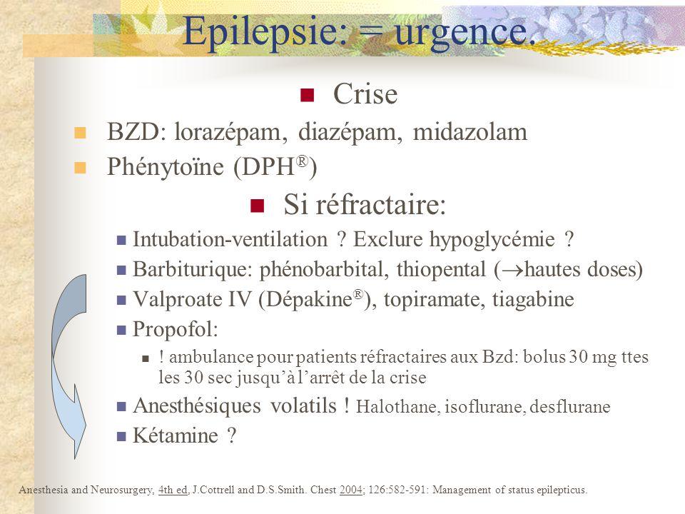 Epilepsie: = urgence. Crise Si réfractaire: