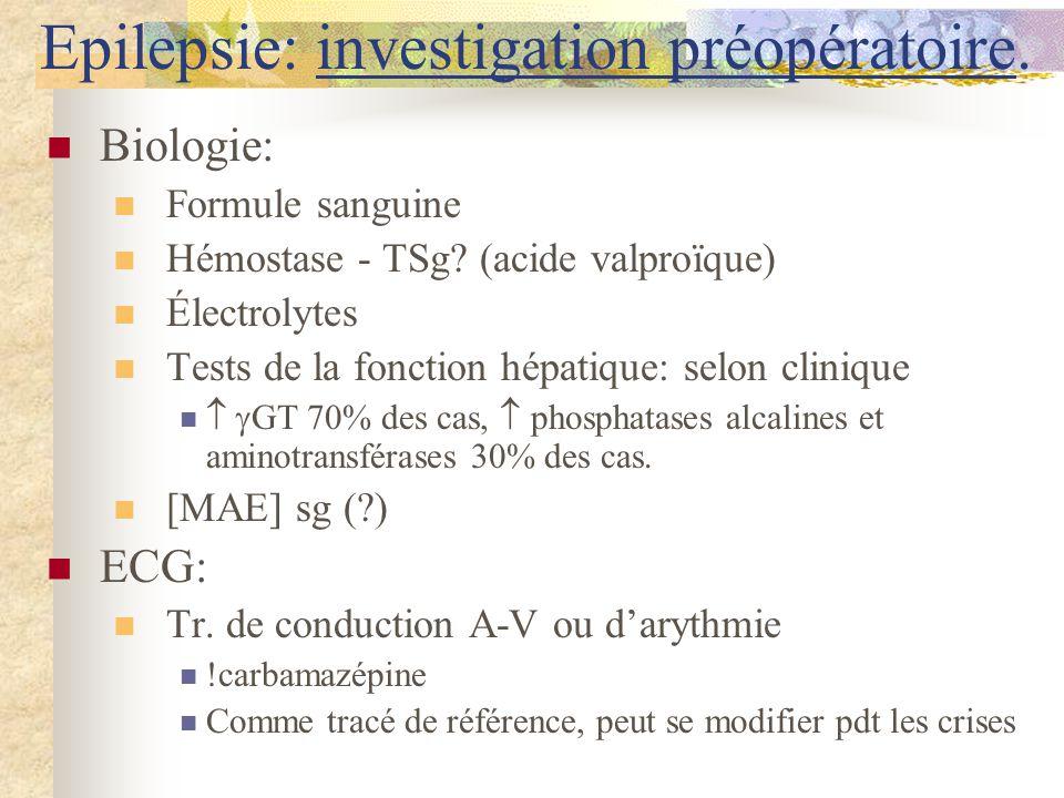 Epilepsie: investigation préopératoire.