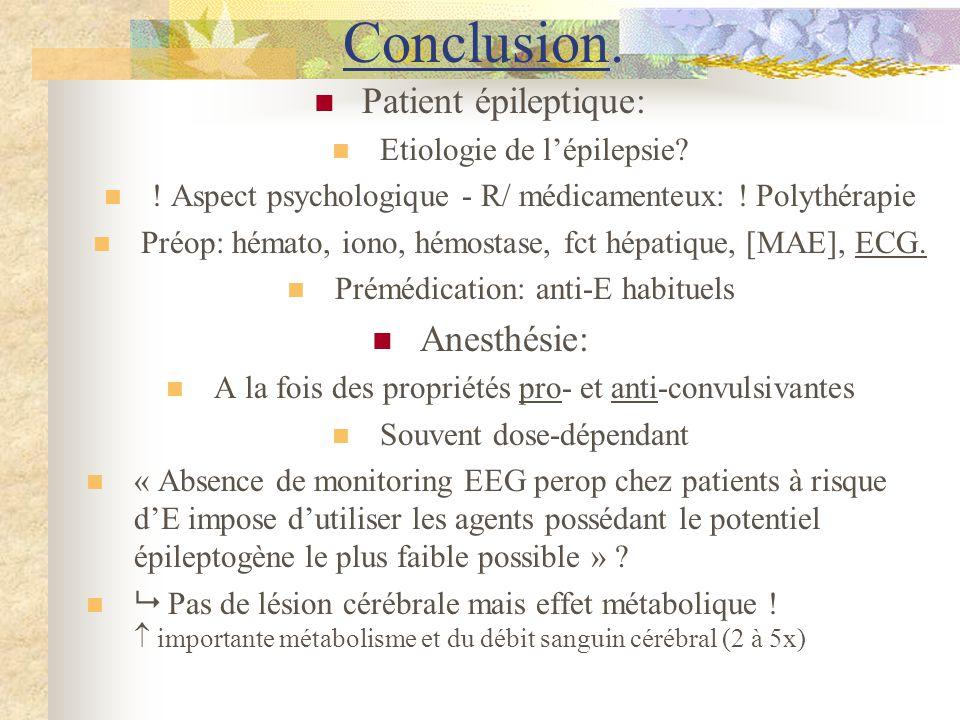 Conclusion. Patient épileptique: Anesthésie: Etiologie de l'épilepsie