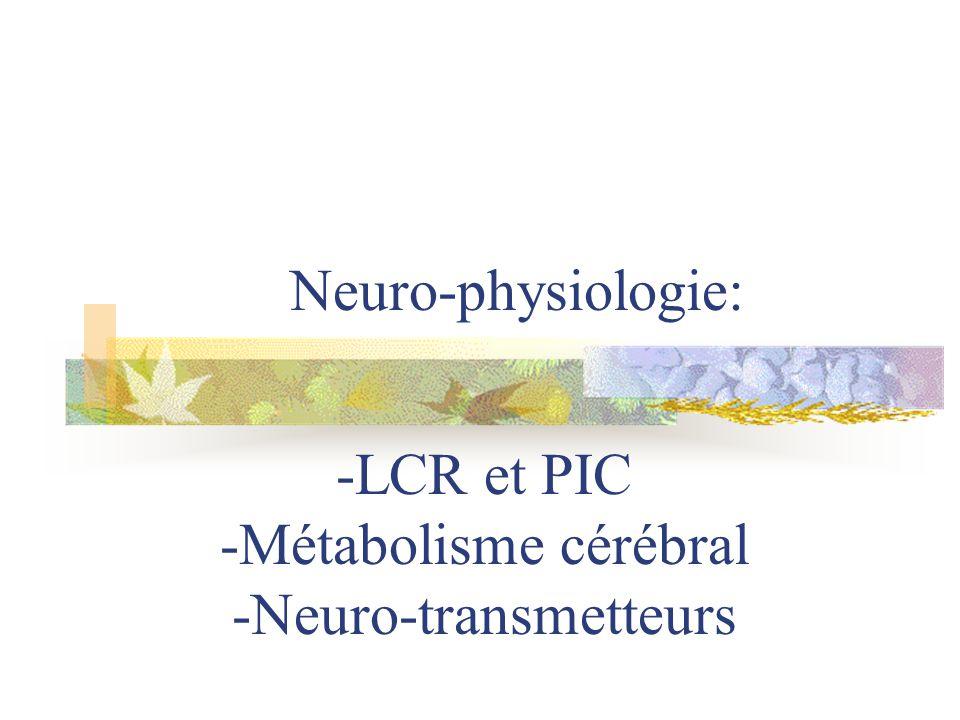 -LCR et PIC -Métabolisme cérébral -Neuro-transmetteurs