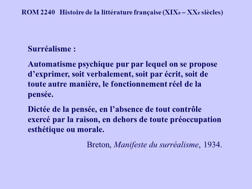 Breton, Manifeste du surréalisme, 1934.