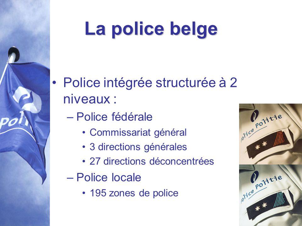La police belge Police intégrée structurée à 2 niveaux :