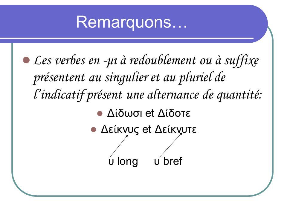 Remarquons… Les verbes en -μι à redoublement ou à suffixe présentent au singulier et au pluriel de l'indicatif présent une alternance de quantité: