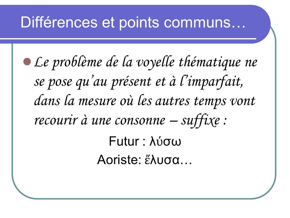 Différences et points communs…
