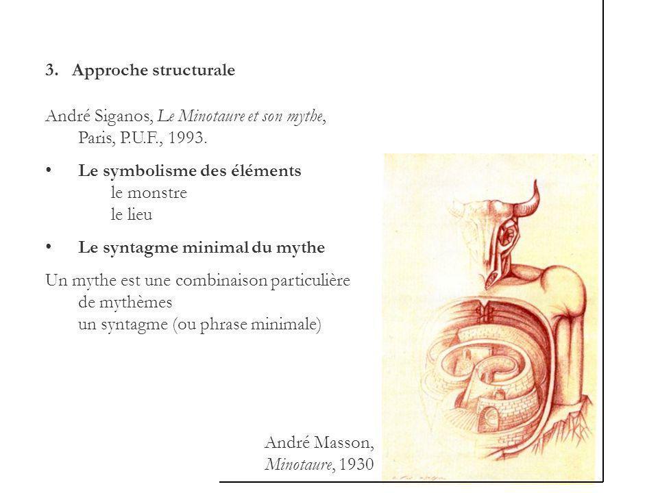 3. Approche structurale André Siganos, Le Minotaure et son mythe, Paris, P.U.F., 1993.