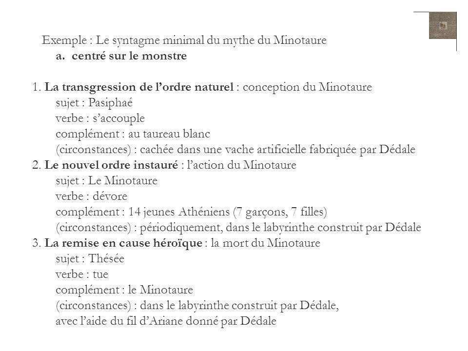 Exemple : Le syntagme minimal du mythe du Minotaure