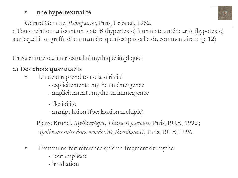 une hypertextualité Gérard Genette, Palimpsestes, Paris, Le Seuil, 1982.