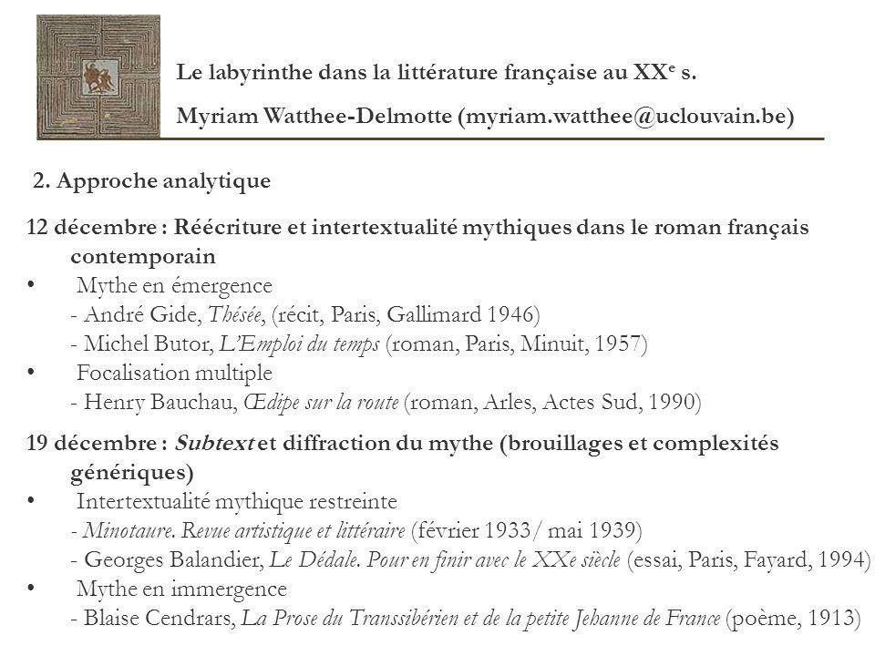 Le labyrinthe dans la littérature française au XXe s.