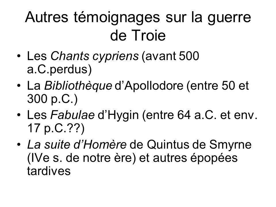 Autres témoignages sur la guerre de Troie