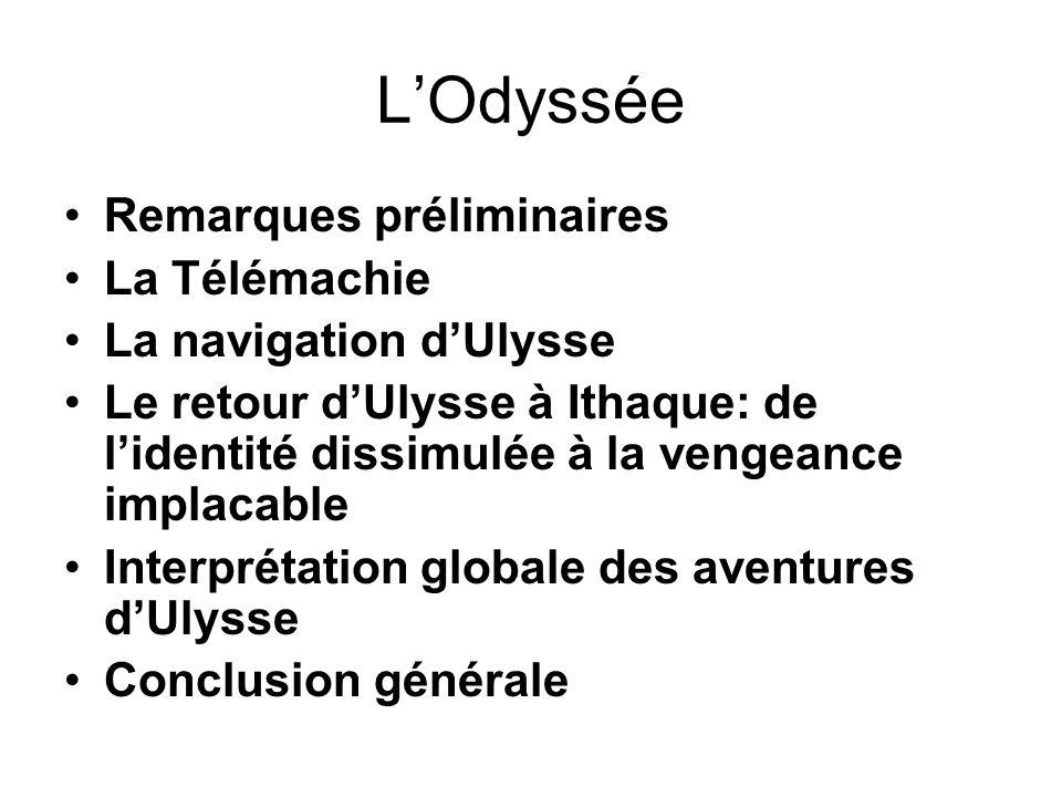 L'Odyssée Remarques préliminaires La Télémachie La navigation d'Ulysse