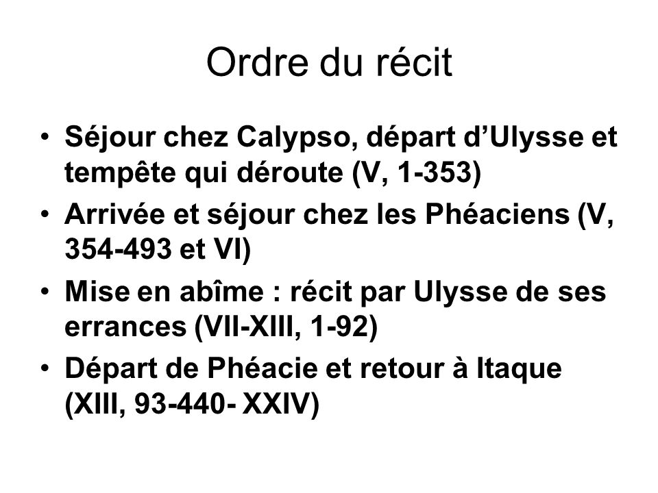 Ordre du récit Séjour chez Calypso, départ d'Ulysse et tempête qui déroute (V, 1-353) Arrivée et séjour chez les Phéaciens (V, 354-493 et VI)