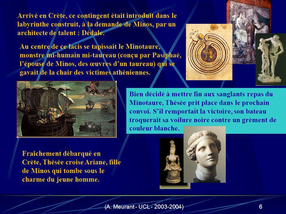 Arrivé en Crète, ce contingent était introduit dans le labyrinthe construit, à la demande de Minos, par un architecte de talent : Dédale.