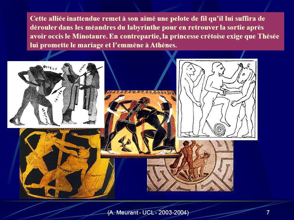 Cette alliée inattendue remet à son aimé une pelote de fil qu'il lui suffira de dérouler dans les méandres du labyrinthe pour en retrouver la sortie après avoir occis le Minotaure. En contrepartie, la princesse crétoise exige que Thésée lui promette le mariage et l'emmène à Athènes.
