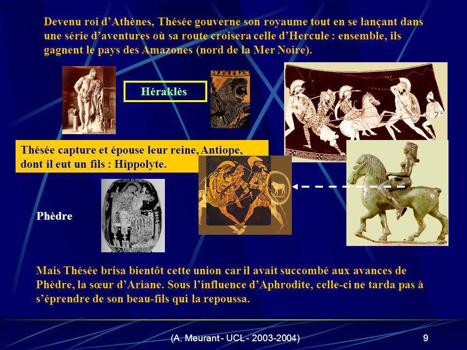 Devenu roi d'Athènes, Thésée gouverne son royaume tout en se lançant dans une série d'aventures où sa route croisera celle d'Hercule : ensemble, ils gagnent le pays des Amazones (nord de la Mer Noire).