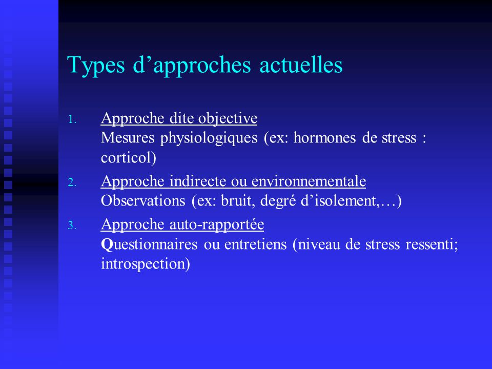 Types d'approches actuelles