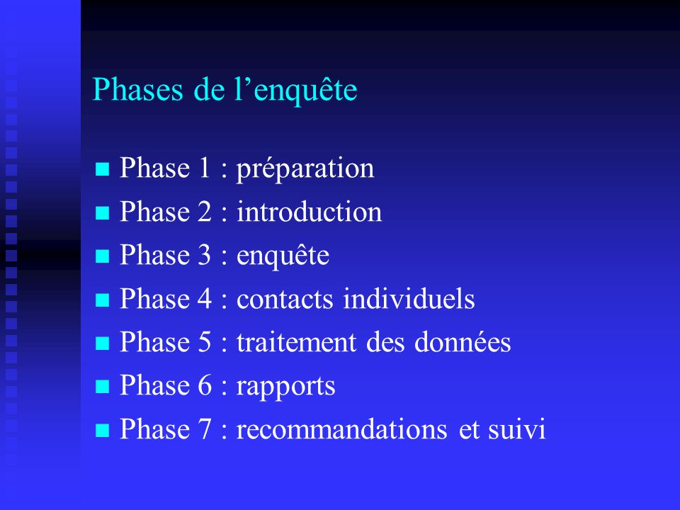 Phases de l'enquête Phase 1 : préparation Phase 2 : introduction