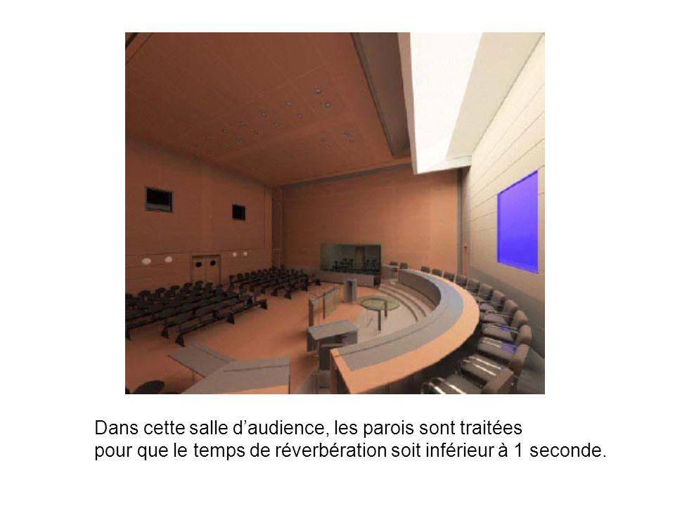 Dans cette salle d'audience, les parois sont traitées
