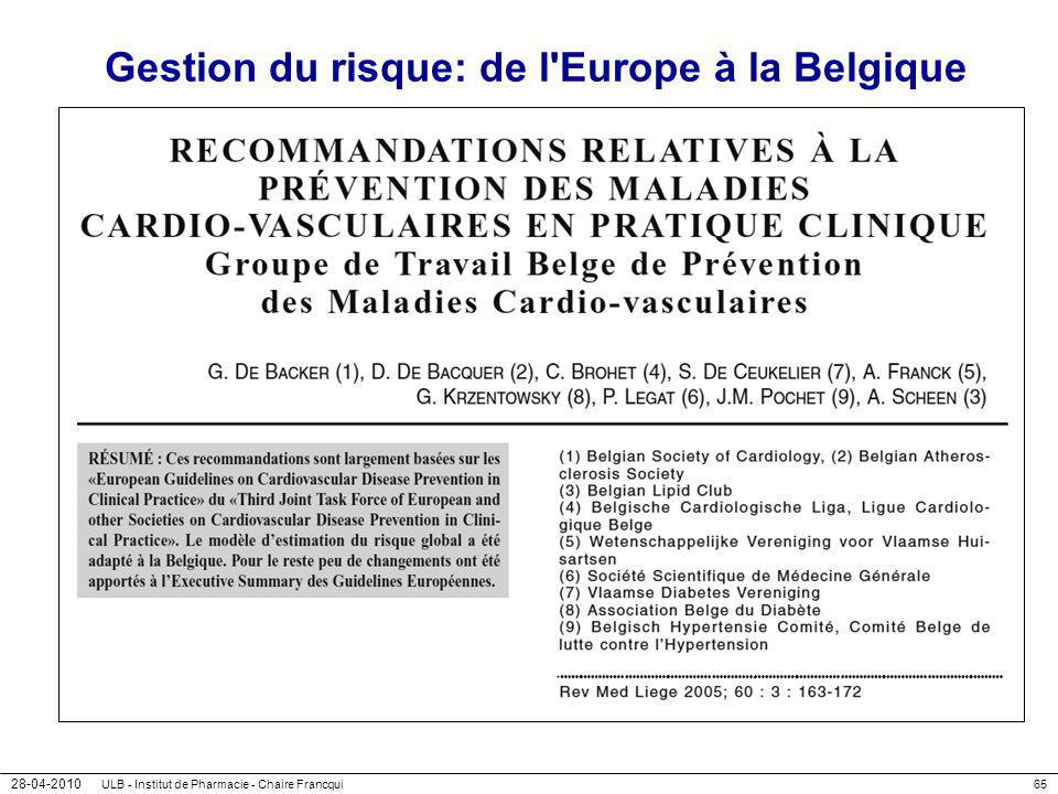 Gestion du risque: de l Europe à la Belgique