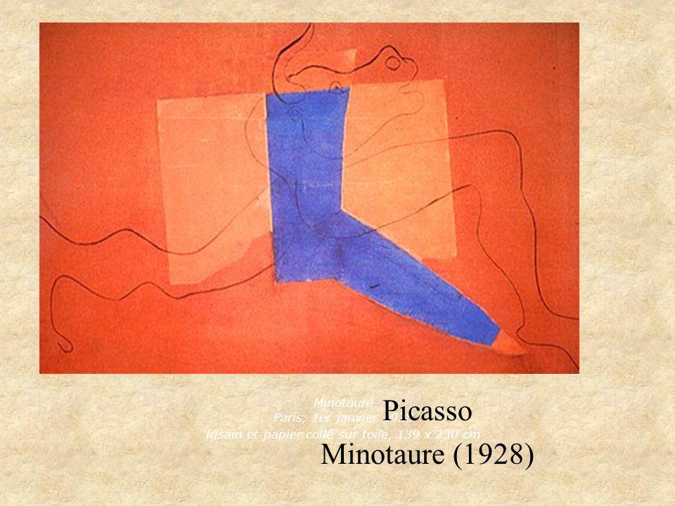 Minotaure Paris, 1er janvier 1928 fusain et papier collé sur toile, 139 x 230 cm
