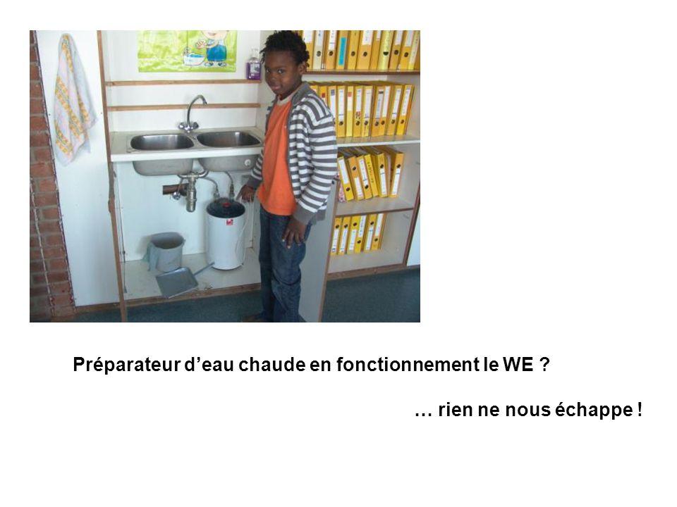 Préparateur d'eau chaude en fonctionnement le WE