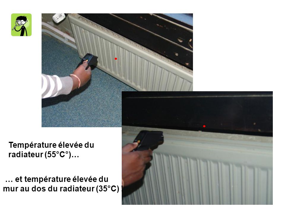 Température élevée du radiateur (55°C°)… … et température élevée du.