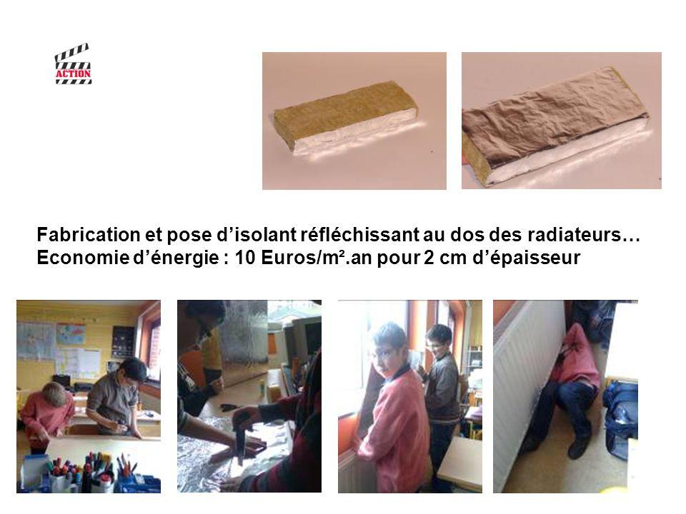 Fabrication et pose d'isolant réfléchissant au dos des radiateurs…