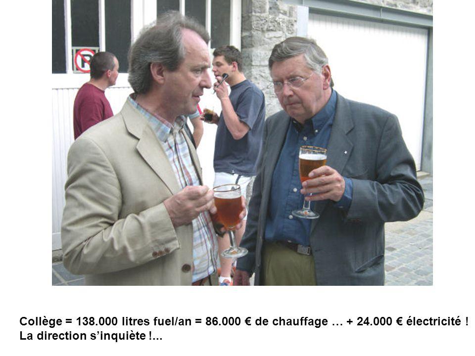 Collège = 138. 000 litres fuel/an = 86. 000 € de chauffage … + 24