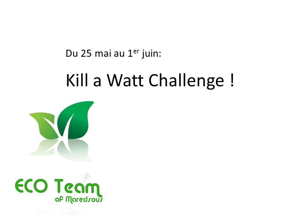 Du 25 mai au 1er juin: Kill a Watt Challenge !