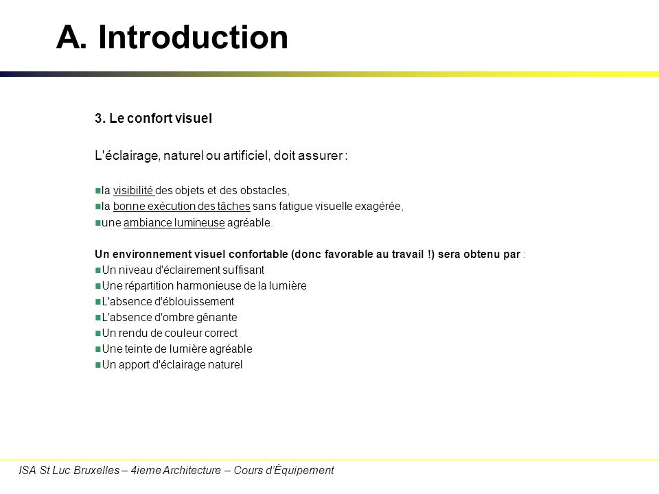 A. Introduction 3. Le confort visuel