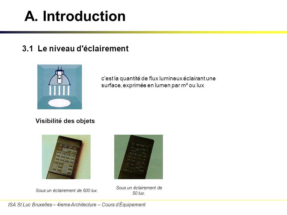 A. Introduction 3.1 Le niveau d éclairement Visibilité des objets
