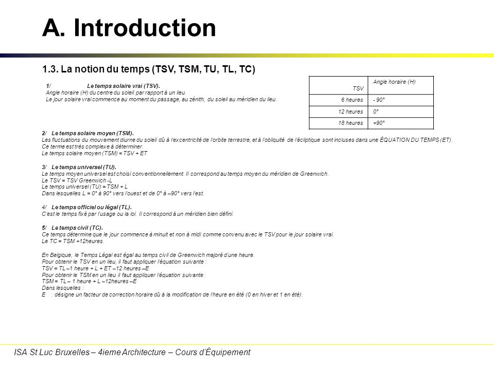 A. Introduction 1.3. La notion du temps (TSV, TSM, TU, TL, TC)