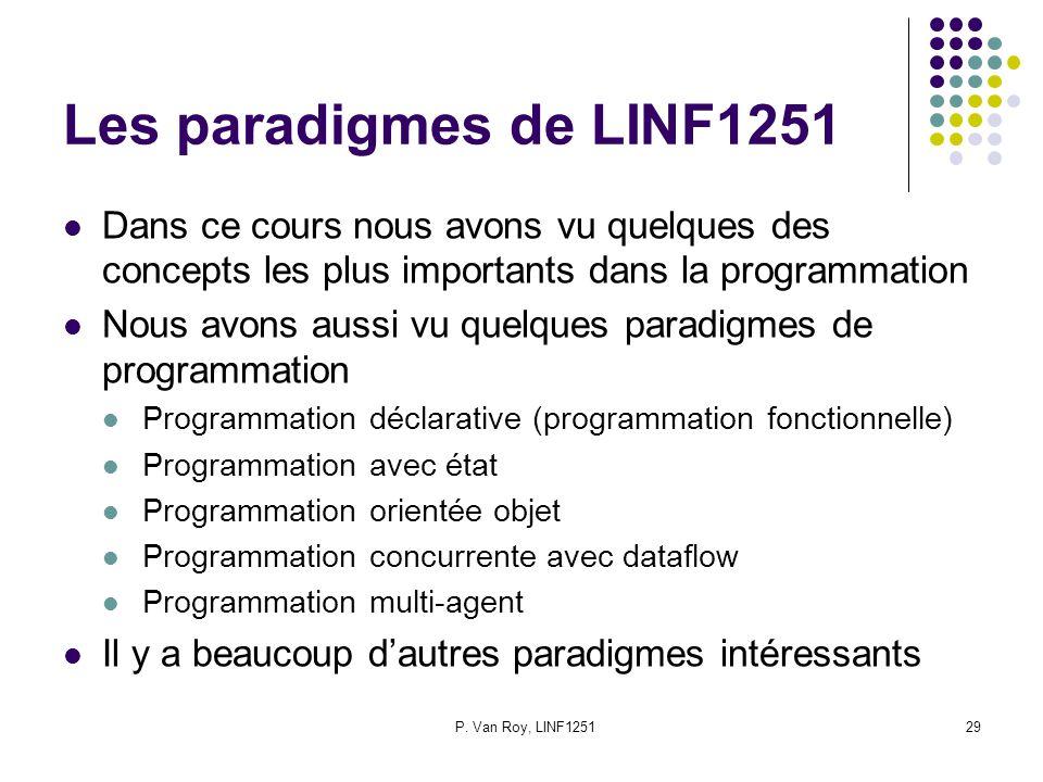 Les paradigmes de LINF1251 Dans ce cours nous avons vu quelques des concepts les plus importants dans la programmation.